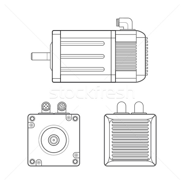 vector electric motor outline illustration Stock photo © TRIKONA