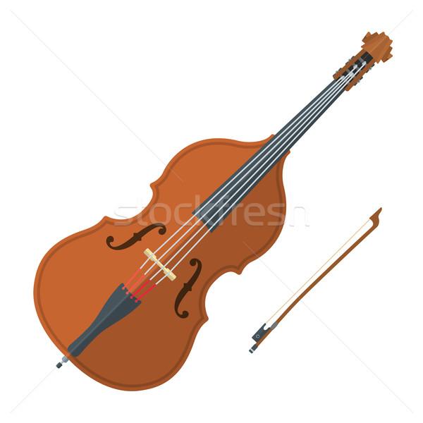 colored flat style contrabass music instrument illustration Stock photo © TRIKONA