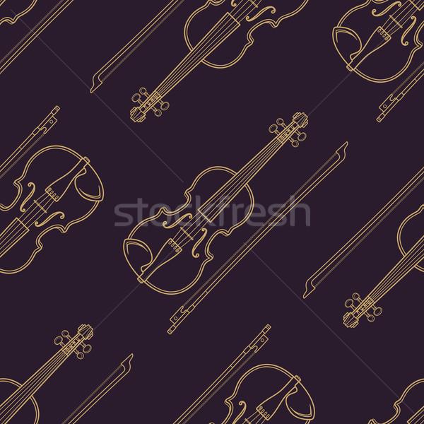 классическая музыка вектора монохромный золото скрипка Сток-фото © TRIKONA