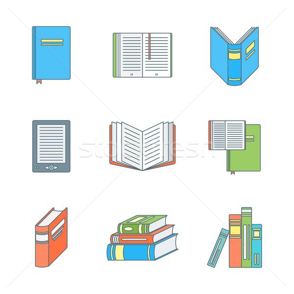 colored outline books icons set Stock photo © TRIKONA