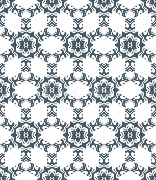 幾何学的な 抽象的な 花 モノクロ ベクトル ストックフォト © TRIKONA