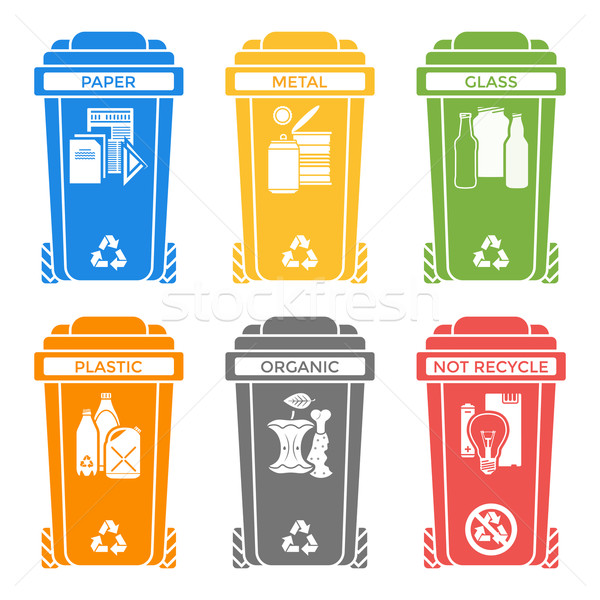 various colors separated garbage bins solid icons labels  Stock photo © TRIKONA
