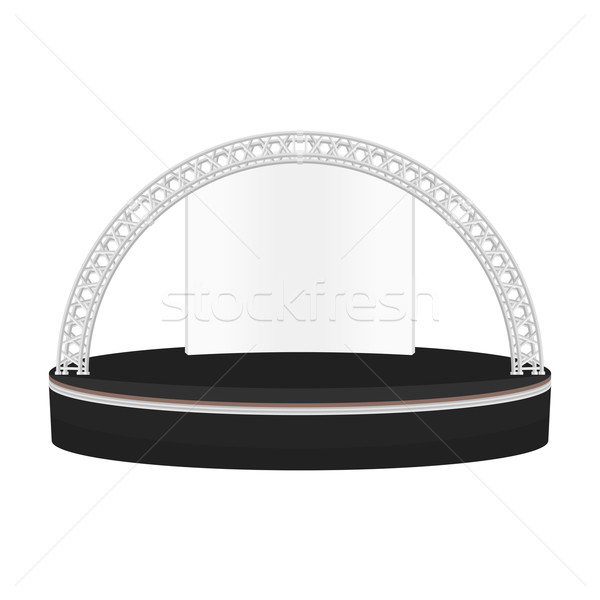 black color flat style dais round stage metal truss illustration Stock photo © TRIKONA