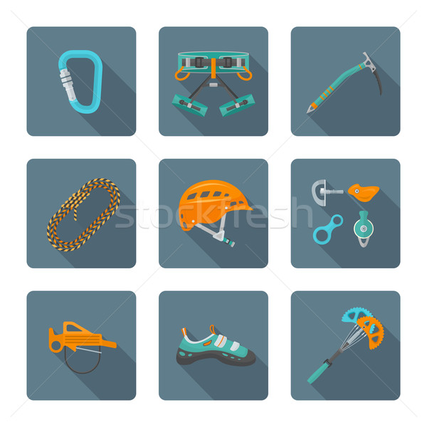 flat style colored various alpinism tools icons collection