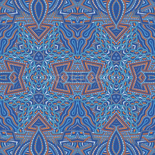 Gekleurd psychedelic patroon vector Blauw Stockfoto © TRIKONA