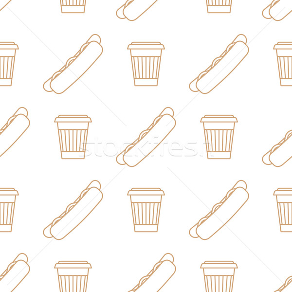 hot dog coffee hot paper cup outline seamless pattern Stock photo © TRIKONA