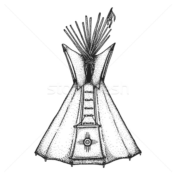 Stock photo: hand drawn indian tipi vintage illustration