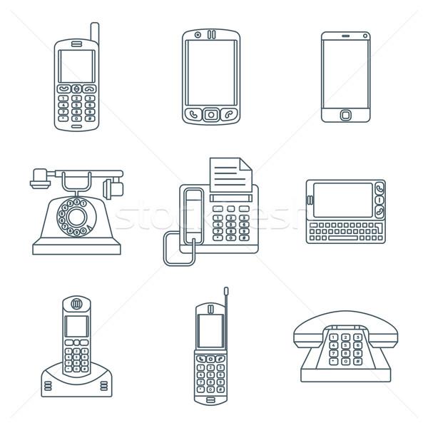Stock fotó: Sötét · skicc · különböző · telefon · eszközök · ikon · szett