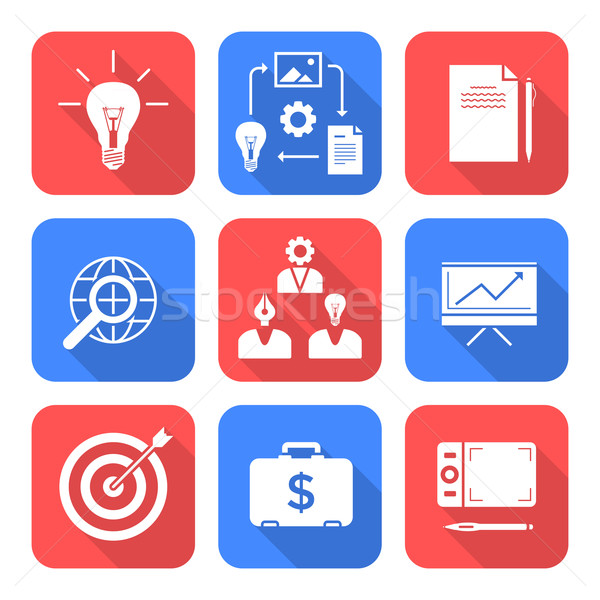 solid white color flat style creative business process icons set Stock photo © TRIKONA