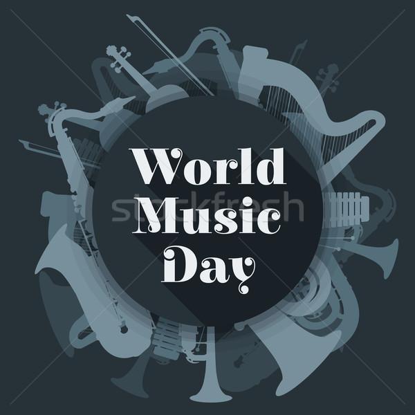 abstract dark colored international music day poster illustratio Stock photo © TRIKONA