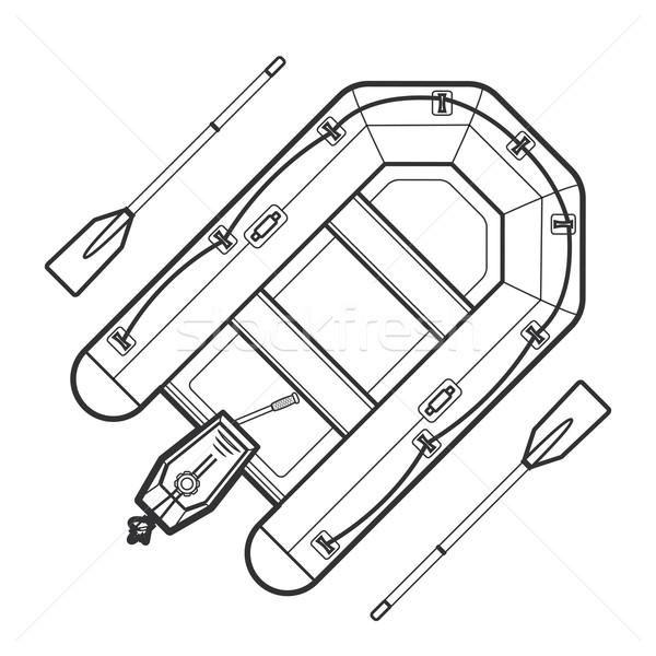 outline inflatable boat illustration Stock photo © TRIKONA