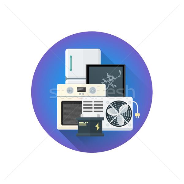 Foto stock: Vetor · elétrico · desperdiçar · ícone · colorido · projeto