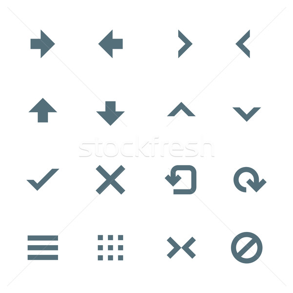 Stock photo: solid grey various navigation menu buttons icons set