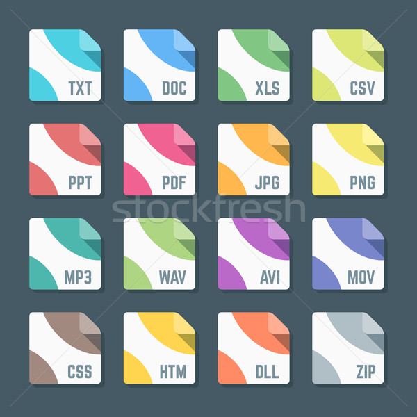 various color flat style minimal file formats icons set  Stock photo © TRIKONA
