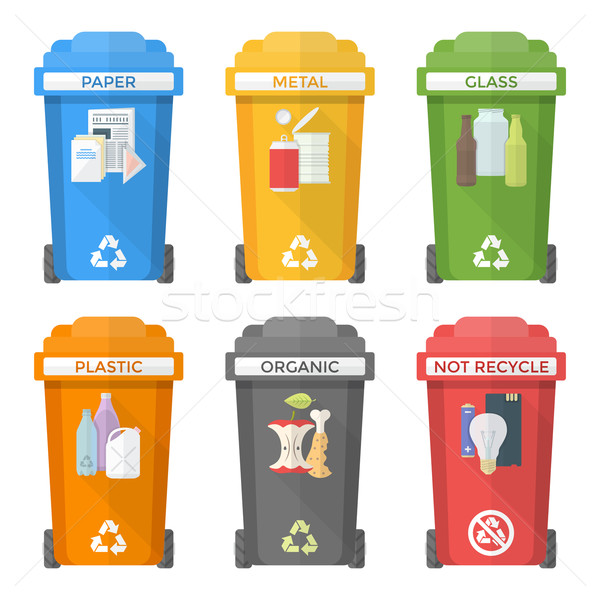 flat style colorful separated garbage bins icons labels 