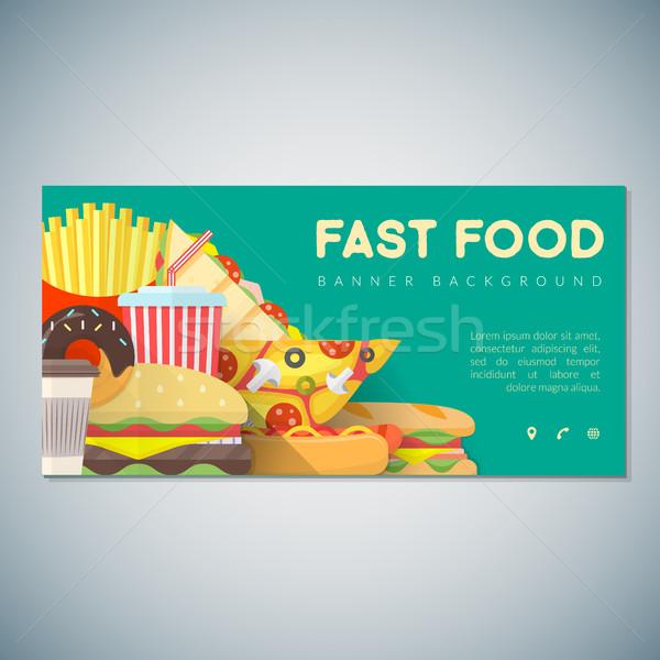 Stockfoto: Fast · food · banner · achtergrond · sjabloon · vector · kleurrijk
