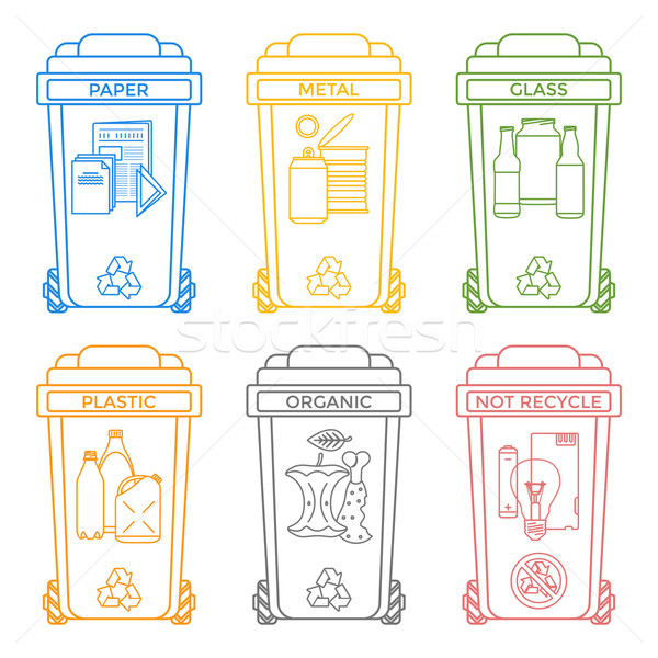 various colors outline separated garbage bins icons labels 
