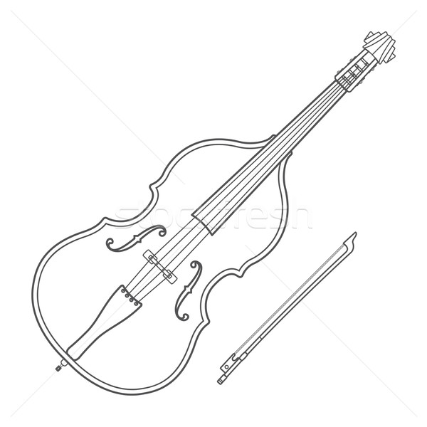 dark contour contrabass music instrument illustration Stock photo © TRIKONA