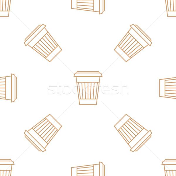 Kávé papír csésze skicc végtelen minta vektor Stock fotó © TRIKONA