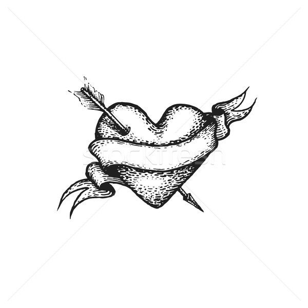 vector engraving heart and arrow Stock photo © TRIKONA
