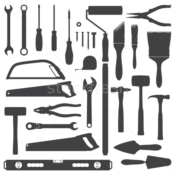 Stock photo: house remodel instruments silhouette set