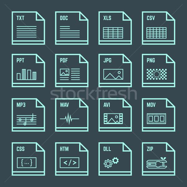 file formats minimal outline design icons set Stock photo © TRIKONA