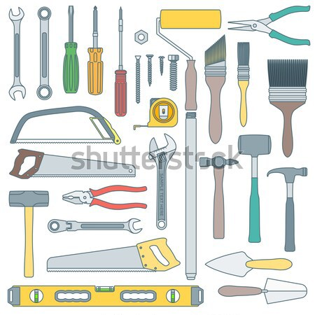 color outline various house remodel instruments set