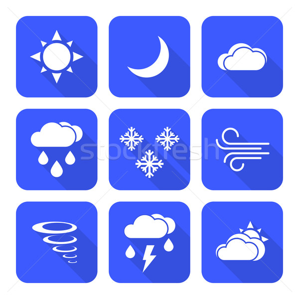 flat style solid white color weather forecast icons set