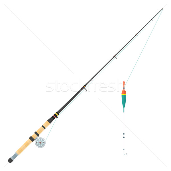 vector flat style float fishing rod illustration