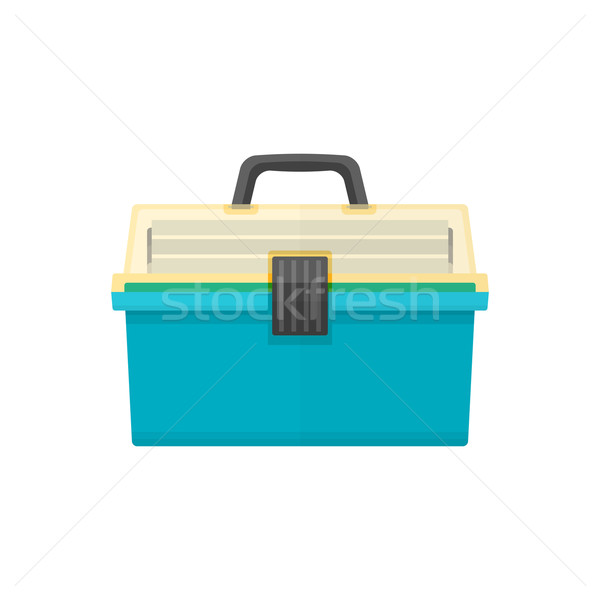 vector flat style fishing tackle box illustration