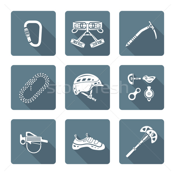 white monochrome various alpinism tools icons collection