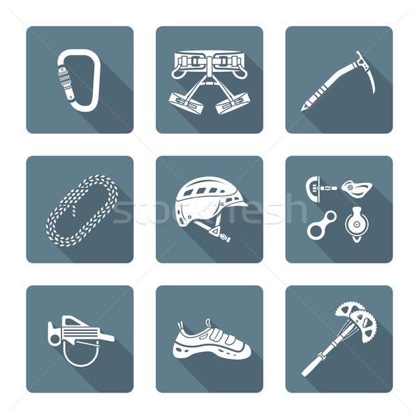 white monochrome various alpinism tools icons collection Stock photo © TRIKONA