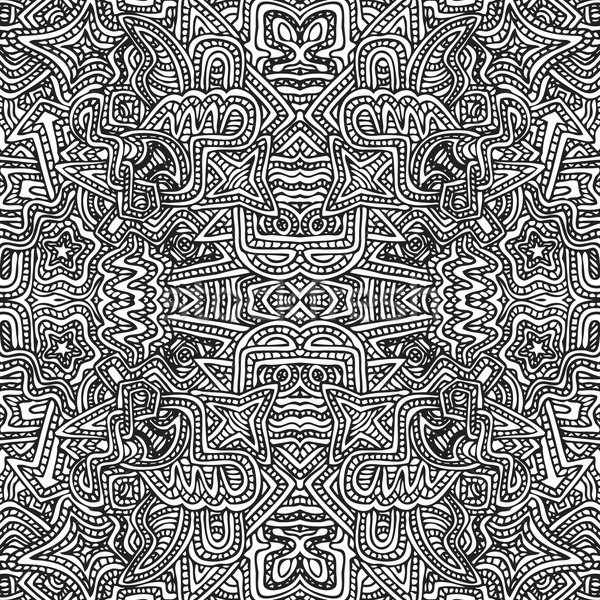 monochrome hand drawn seamless pattern illustration