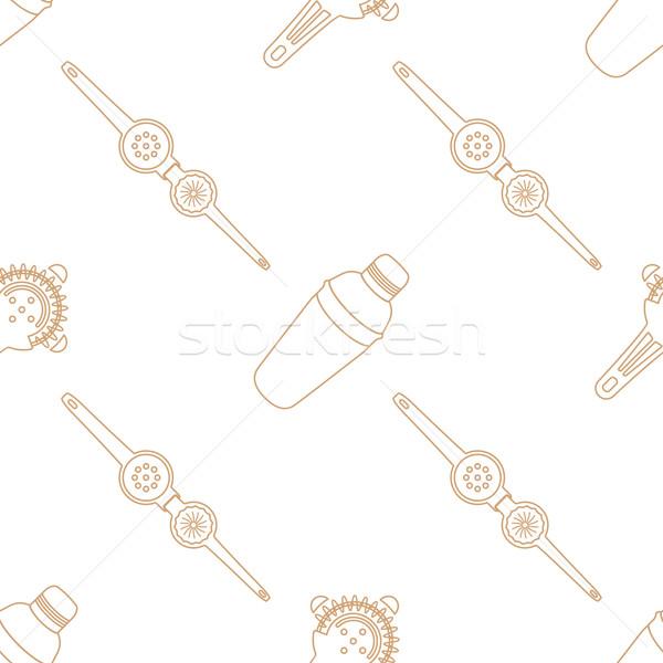 Barman uitrusting contour vector bruin Stockfoto © TRIKONA