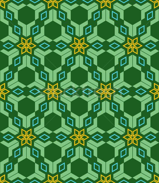 abstract geometric blue green yellow seamless pattern Stock photo © TRIKONA
