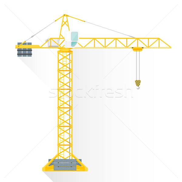 vector flat style yellow tower building crane illustration icon Stock photo © TRIKONA