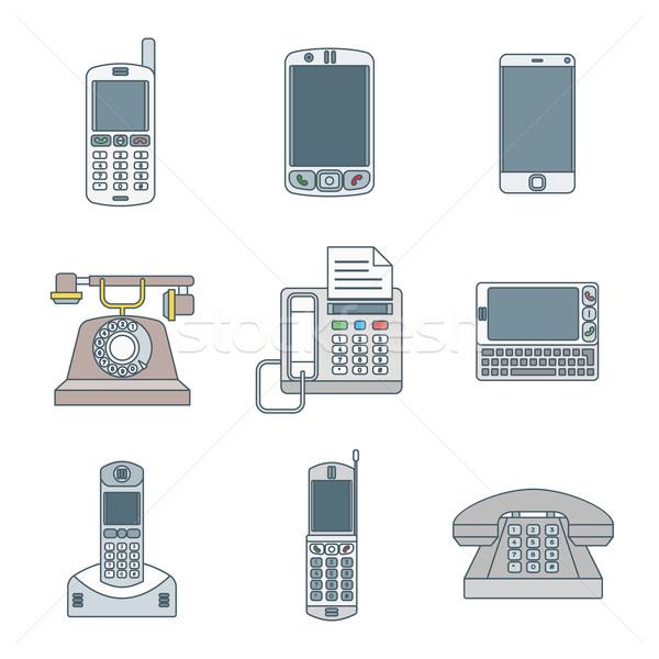 Színes skicc különböző telefon eszközök ikon szett Stock fotó © TRIKONA