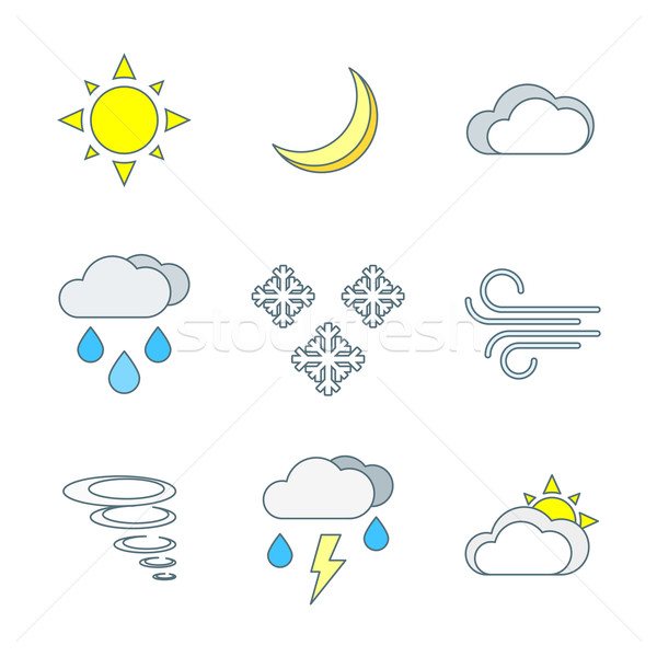 colored outline weather forecast icons set