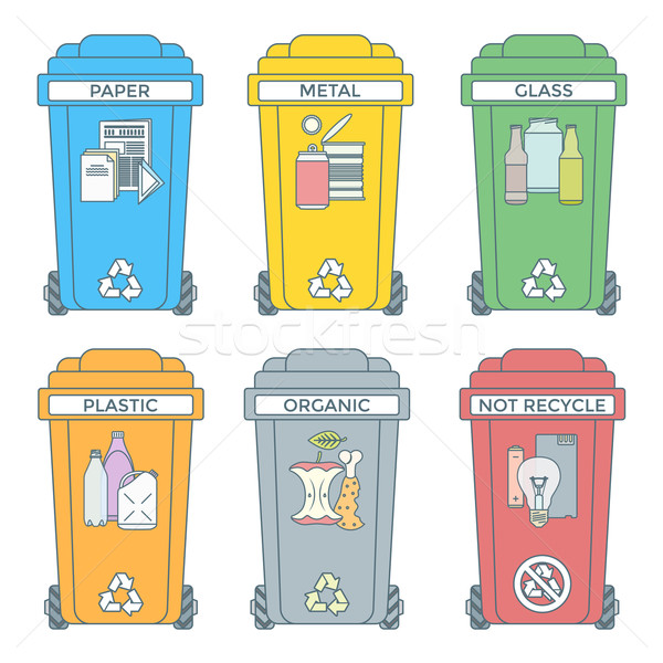 colored outline separated garbage bins icons labels  Stock photo © TRIKONA