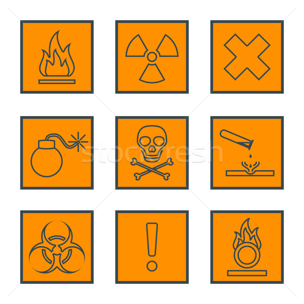 orange square black outline hazardous waste symbols warning sign Stock photo © TRIKONA