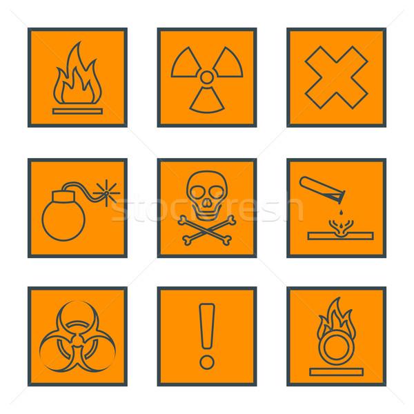 оранжевый квадратный черный опасный отходов Сток-фото © TRIKONA