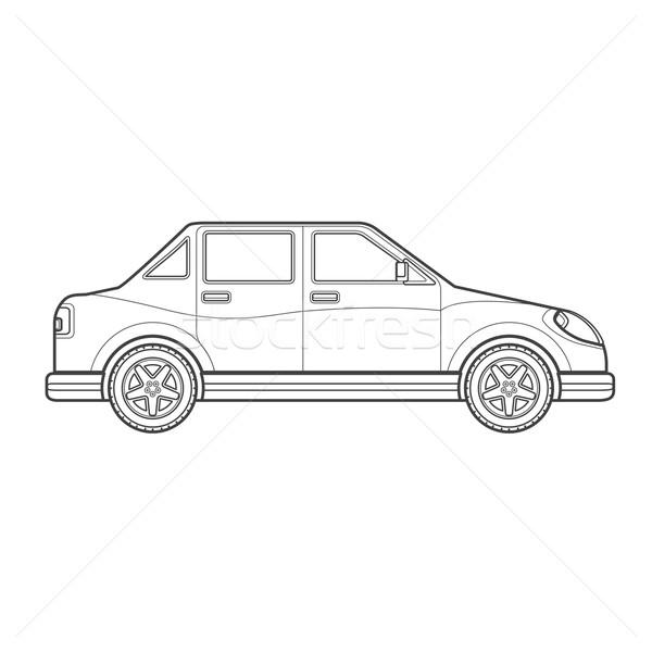 outline saloon car body style illustration icon Stock photo © TRIKONA