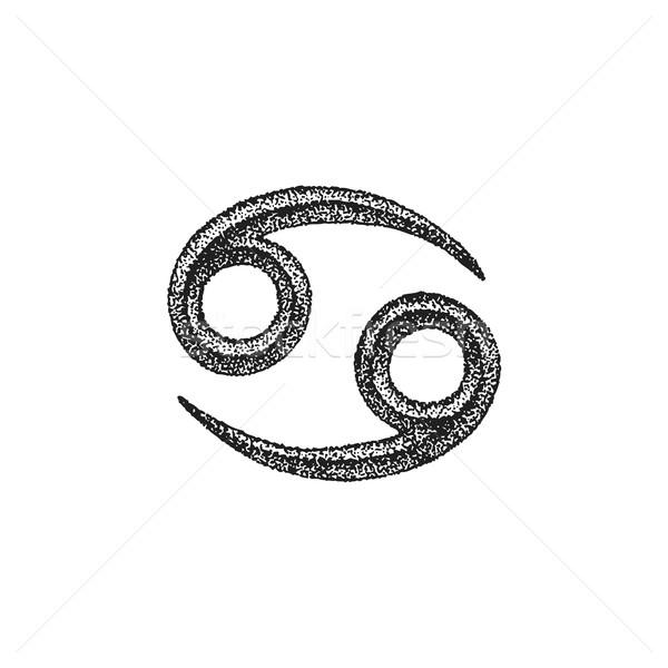 Raka zodiak podpisania wektora czarny Zdjęcia stock © TRIKONA