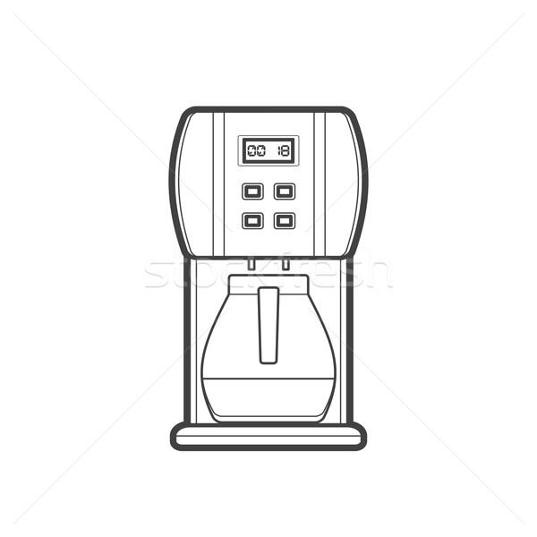 Skicc kávéfőző illusztráció vektor monokróm körvonal Stock fotó © TRIKONA