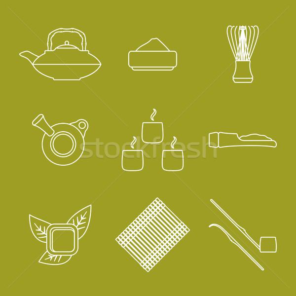 various outline japan tea ceremony equipment icons set Stock photo © TRIKONA