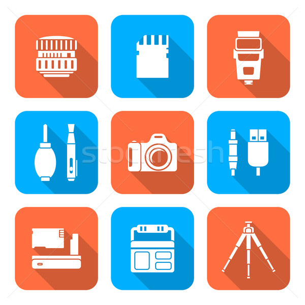 white color flat style square digital photography tools icons  Stock photo © TRIKONA
