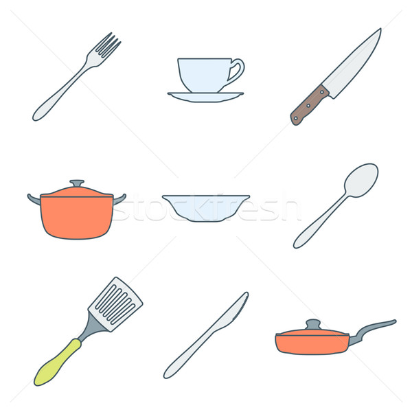color outline dinnerware icons set Stock photo © TRIKONA