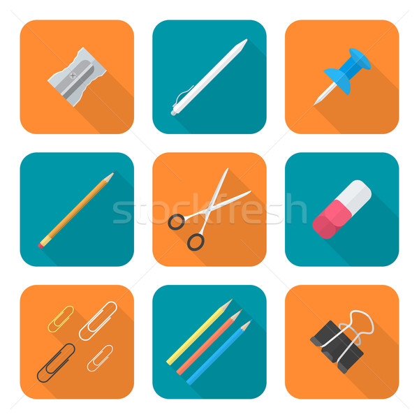 Stock photo: colored flat style various stationery icons set
