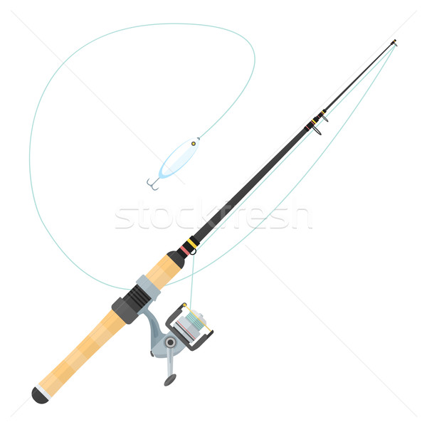 vector flat style spinning fishing rod illustration