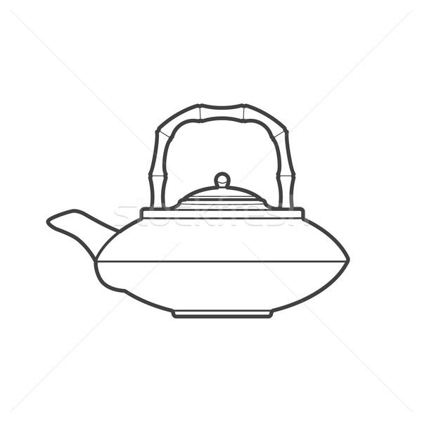 アジア ティーポット 実例 ベクトル モノクロ ストックフォト © TRIKONA